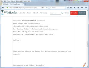 Screenshot from HBGary leaked e-mails on Wiklileaks, relating to setting up external access for a new Disney employee.