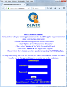 "Screenshot of Disney's application for supply-change management, named OLIVER (for ""Optimized Logistics, Inventory Visibility, Execution Resource"")."