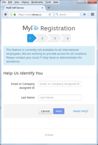 Screenshot of Disney's MyID Registration page, for Disney corporate employees to obtain remote access to various Disney systems.