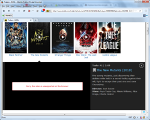 Screenshot of IMDB's webpage displaying an error when trying to play a trailer video.