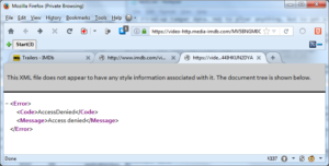 Screenshot of XML error returned by IMDB when attempting to play a video.