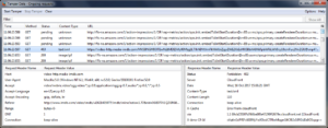 Screenshot of the TamperData addon in Firefox, while troubleshooting video playing issues on IMDB.