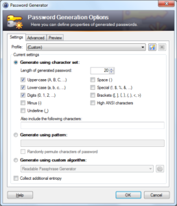 Screenshot of KeePass's Password Generation Options screen