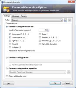 Screenshot of KeePass's Password Generation Options screen