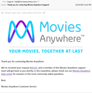 Screenshot of support e-mail from help@moviesanywhere.come that includes a ticket link. This leads to shenanigans!